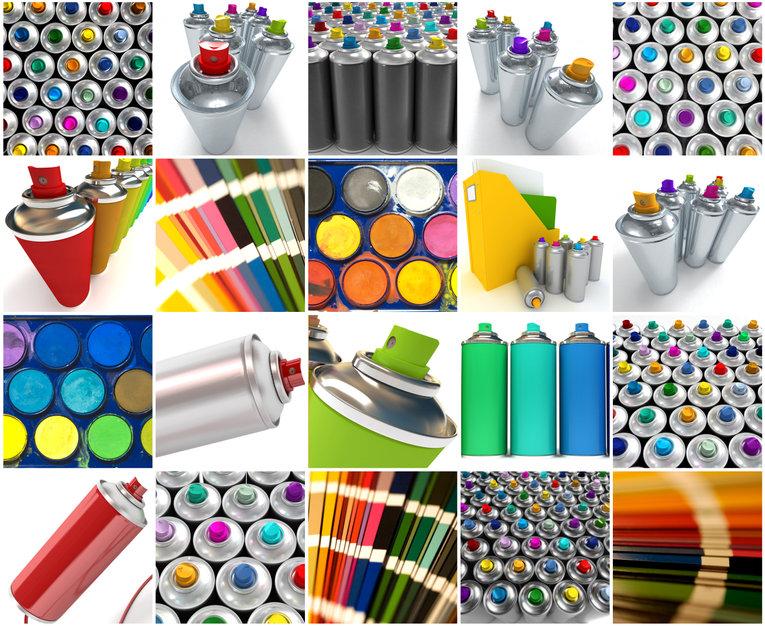 Différents types de bombes de peinture