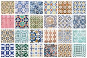 Différents types de motifs de carrelage en forme de mosaïque